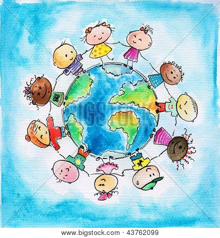 Children of different races hugging the planet Earth. Picture created  with watercolors . poster