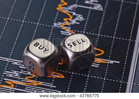 Dices Cubes To Trader. Cubes With The Words Sell Buy. Selective Focus