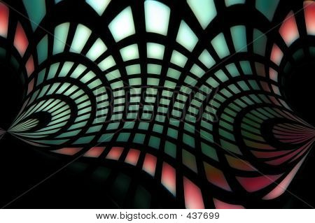 red and green warp speed shape poster