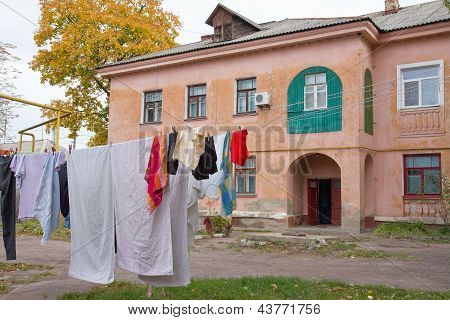 Laundry Hanging Out In Old Yard