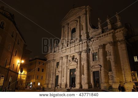 St John of the Florentines church at night in the Ponte rione of Rome Italy poster