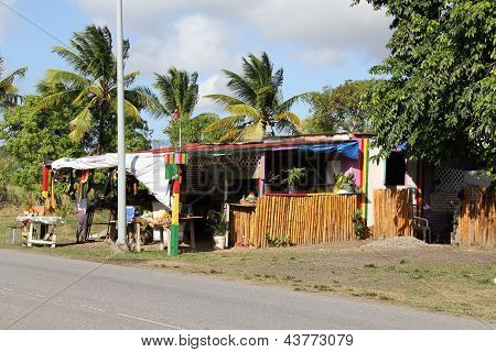 Typical Roadside Fruit Stand in Antigua Barbuda