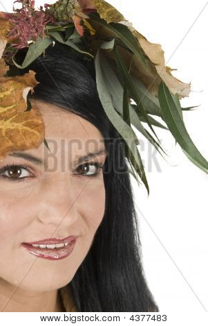 Close-up Of Autumn Face Female