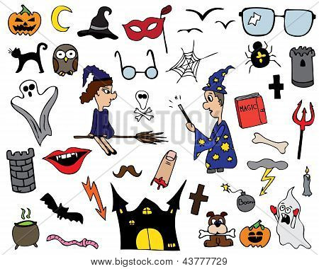Collection of Halloween symbols