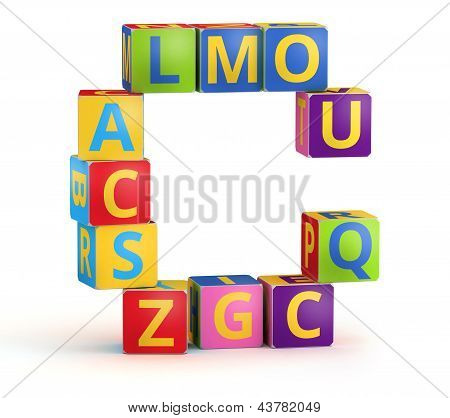 Letter C maked from abc cubes