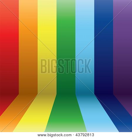Vertical rainbow lines in perspective. Rainbow stripes. poster