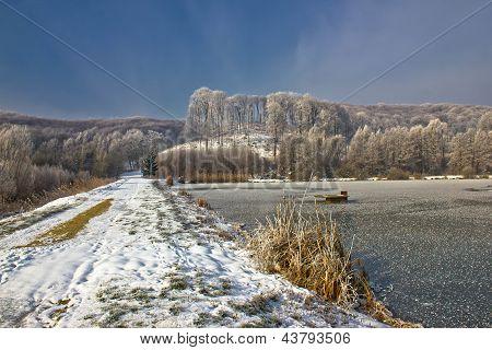 Frozen lake winter landscape in Croatia