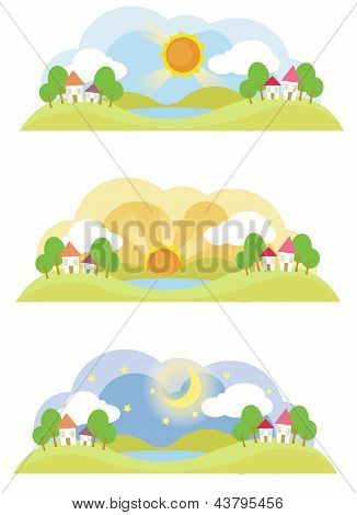3 Natural Landscape On Various Time Of The Day