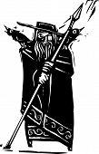 Woodcut style image of the Viking God Odin poster