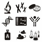 set of black and white molecular biology science icons poster