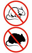 no rodents vector sign - crossed red circle with rat outline poster