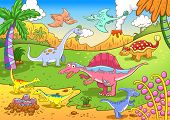 Cute dinosaurs in prehistoric scene EPS8 File - simple Gradients no Effects no mesh no Transparencies. All in separate group and layer for easy editing poster