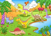 Cute dinosaurs in prehistoric scene EPS10 File - simple Gradients no Effects no mesh no Transparencies. All in separate group and layer for easy editing poster