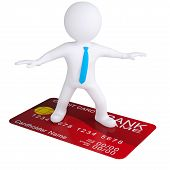 3d white man standing on a credit card. Isolated render on a white background poster