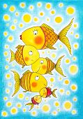 Group of gold fish, child's drawing, watercolor painting on paper poster
