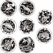 Round tattoos with reptiles. Set of black and white vector illustrations. poster