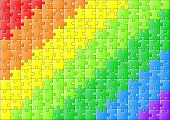 vector jillustration of a jigsaw puzzle in rainbow colors poster