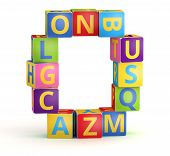 Number 0 from ABC cubes for kid spell education poster