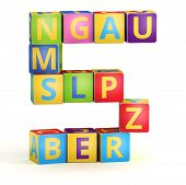 Number 5 from ABC cubes for kid spell education poster