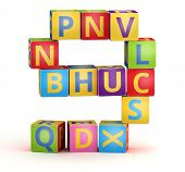 Number 9 from ABC cubes for kid spell education poster