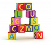 Letter A from ABC cubes for kid spell education poster