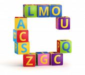 Letter C from ABC cubes for kid spell education poster