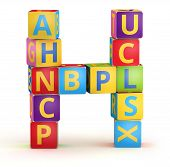 Letter H from ABC cubes for kid spell education poster
