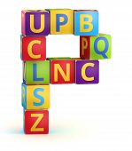 Letter P from ABC cubes for kid spell education poster