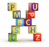 Letter X from ABC cubes for kid spell education poster