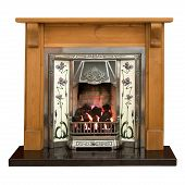 Victorian style tiled fireplace with pine surround poster
