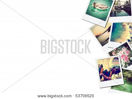 A Pile Of Photographs With Space For Your  Text.