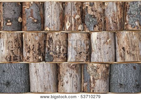 Wooden Chumps Wall Background Texture