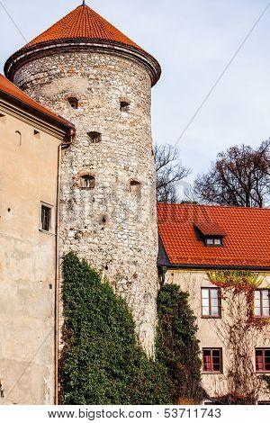 View Of Pieskowa Skala Castle And Garden, Medieval Building Near Krakow, Poland