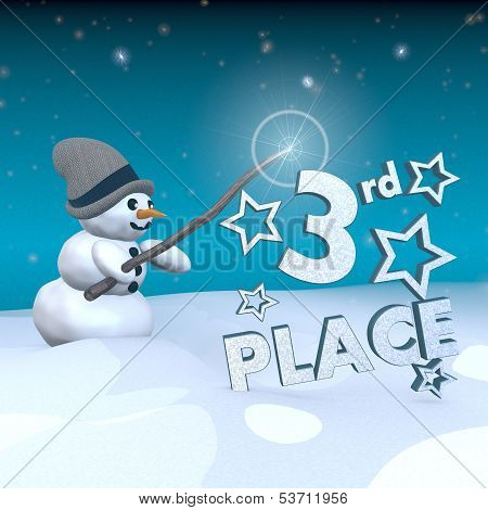 3d rendered snowman in snowy x-mas landscape with doing magic with a 3rd place sign poster