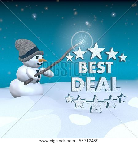 Snowman With Magic Wand And Best Deal Symbol