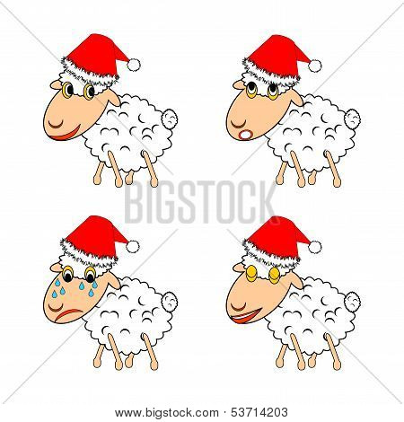 A Funny Christmas Sheep Expressing Different Emotions