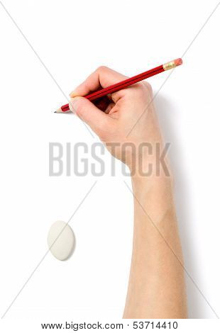 Image Of Human Hand With Pencil And Eraser