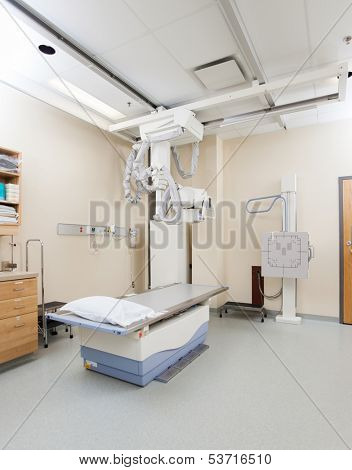 Xray machine and table in examination room