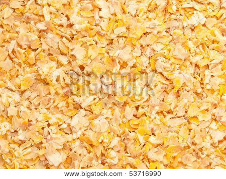 Gold Micronized Corn Background. Food For Horse
