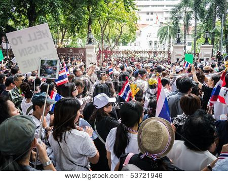 Protesters Standing In Front Of The Police Headquarter