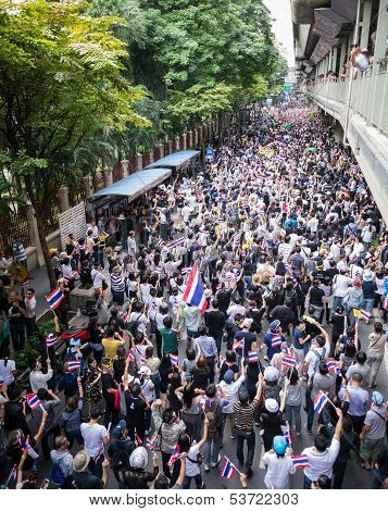 Protesters Walking On The Road