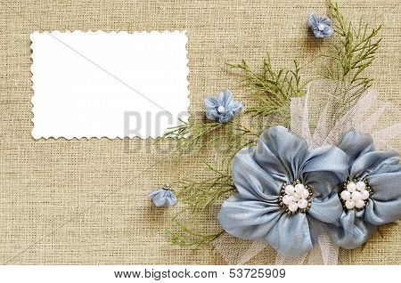 Background With A Flower Arrangement And A Card