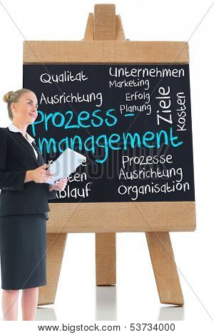 Composite image of blonde businesswoman holding new tablet in front of board with management terms written on it