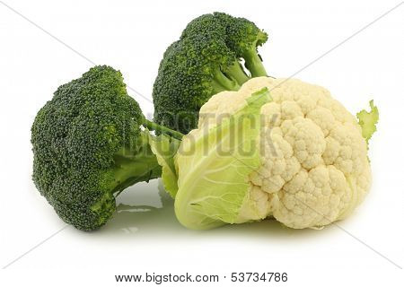 Fresh cauliflower and broccoli  on a white background