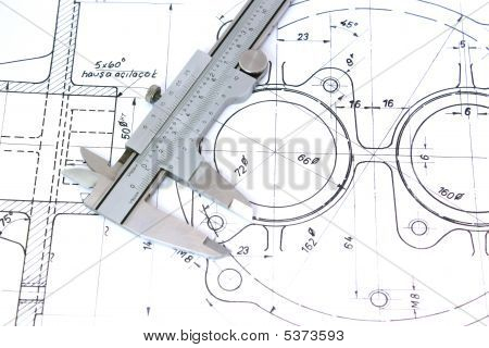 Caliper on Blueprint. Horizontal