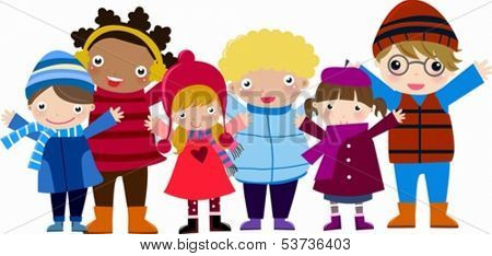 Group of children-winter boys and girls