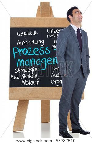 Composite image of smiling businessman standing before a chalkboard with management terms written on german