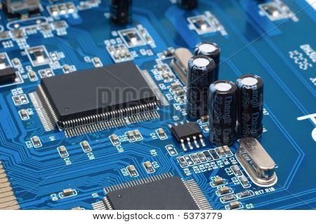 Capacitors And Chips On Microcircuit