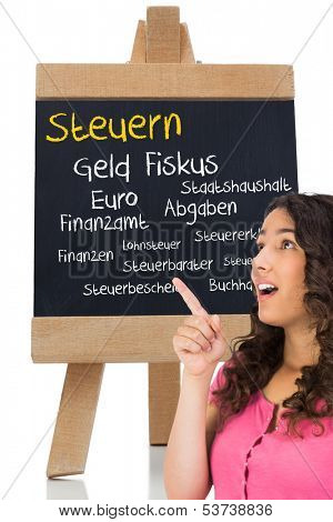 Composite image of surprised brown haired woman pointing out a blackboard with german terms with taxes