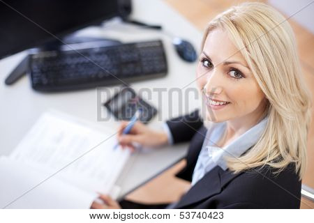Beautiful businesswoman doing finances in the office poster